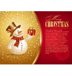 christmas illustration with smiling snowman vector image vector image