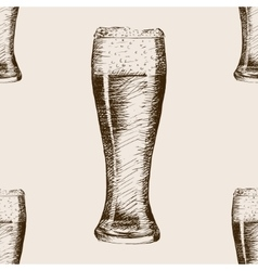 Glass of beer sketch style seamless pattern vector image vector image