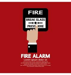 Hand Push Fire Alarm Button vector image
