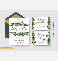wedding invitation save the date rsvp invite card vector image vector image