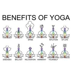 Advantages and benefits of yoga vector