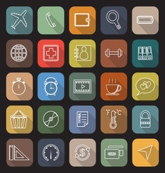 Application line flat icons with long shadow set 2 vector
