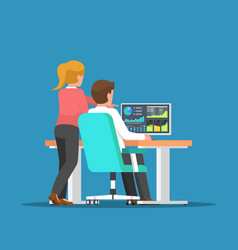 businessman and woman discussing about business vector image