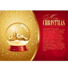 christmas card with snow globe vector image vector image