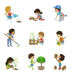 Kids Gardening Collection vector image
