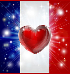 love france flag heart background vector image vector image