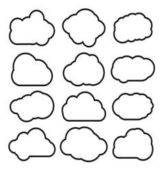 Oblaci prosti lineart2 resize vector image vector image
