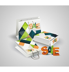 Sale Tag Paper Bags and Box with 3d letters SALE vector image vector image
