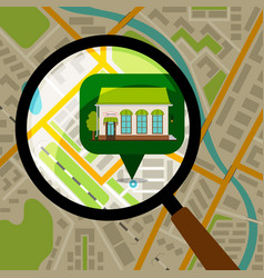 supermarket location at city map vector image