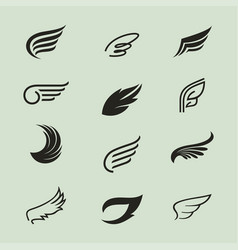 Wings icons set 3 vector
