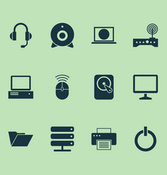 computer icons set collection of hdd printing vector image