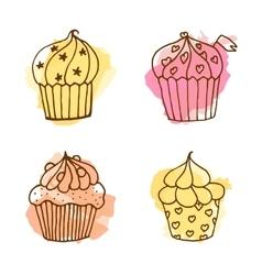 Cupcake set of 4 hand drawn vector