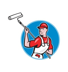 House Painter With Paint Roller Cartoon vector image vector image