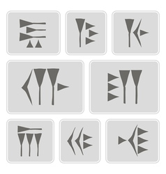 monochrome icons with cuneiform vector image vector image