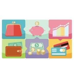 Dollar purse coin box pig icons vector image