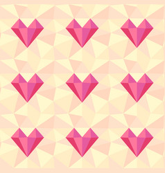 heart pattern low poly seamless background vector image