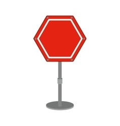 hexagon road sign red icon vector image