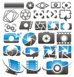 Set of camera icons symbols and logos vector image