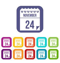 24 november calendar icons set vector