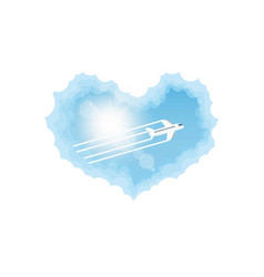 aircraft in the cloud heart vector image