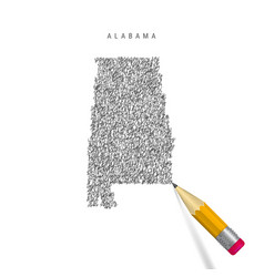 Alabama sketch scribble map isolated on white vector