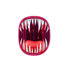 Angry creature yell monster mouth icon vector