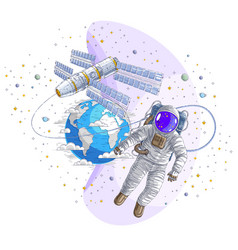 Astronaut went out into open space connected to vector