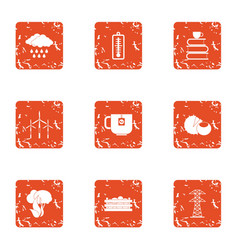 Backpacking icons set grunge style vector