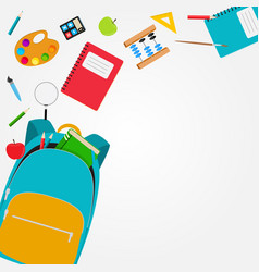 bag backpack icon with school accessories vector image