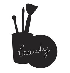 Beauty inscription on black silhouette isolated vector