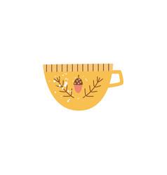 big yellow ceramic mug or cup in flat cartoon vector image