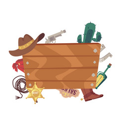 Blank wooden board with cowboy movie accessories vector