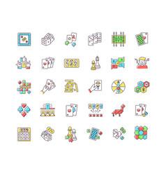 Board games rgb color icons set vector