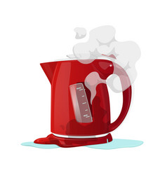 Broken electric kettle isolated on white vector