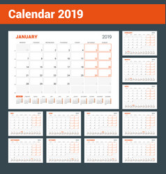 Calendar planner for 2019 year set of 12 pages vector
