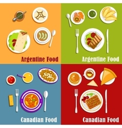 Canadian and Argentine national cuisine vector