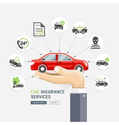 Car insurance services business hands holding vector