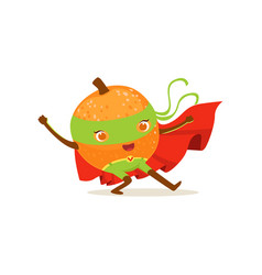 Cartoon character of superhero orange with hands vector