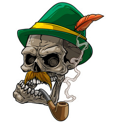 cartoon human skull in bavarian traditional hat vector image