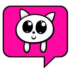 cartoon kitten chat icon vector image