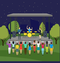cartoon open air night festival and landscape vector image