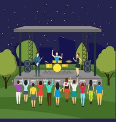 Cartoon open air night festival and landscape vector