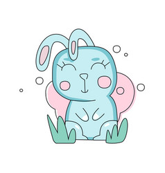 cartoon portrait bunny of blue bunny on green vector image