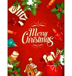 Christmas gift and ornaments greeting card design vector image