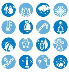 Color cristmas icons set vector