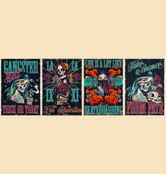Colorful vintage posters collection vector