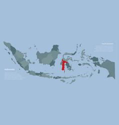 Country indonesia map and province south sulawesi vector