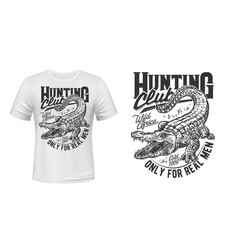Crocodile or alligator hunt t-shirt print vector