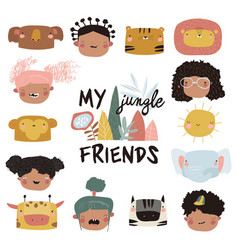 Cute kids faces and jungle animals on a white vector