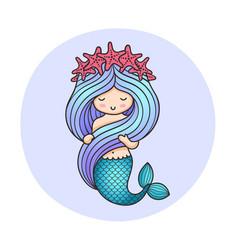 cute little mermaid holding her hair vector image